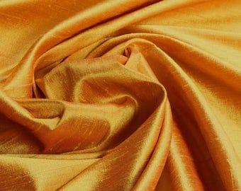 Fabric natural Shantung silk curry yellow