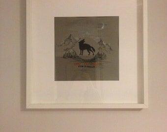 WOLF original painting (FRAMED) 52x52cm