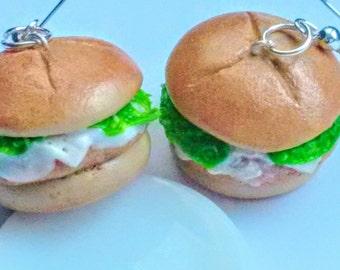 Chicken Sandwich Earrings - Miniature Food Jewelry - Inedible Jewelry - Sandwich Jewelry - Fake Food Jewelry, Fried Chicken Jewelry, Kawaii