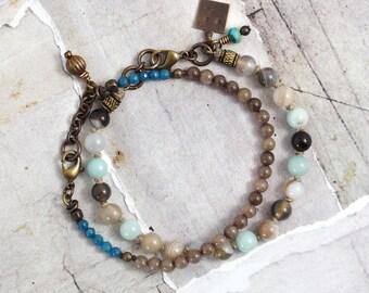 Multi gemstone bracelet set Agate bracelet Amazonite jewelry Rustic stone jewelry Teal bracelet Jade bracelet with knots Aqua bead bracelet