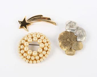 "1950's-80's 3 VTG Brooches, Faux Pearls Circle Pin - 1-5/8"" D, Atomic Age Comet Pin - 2' X 7/8"", Liz Claiborne Floral Pin - 2"" X 1-1/4"""