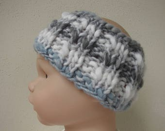 Hand knit girl ear warmer pink soft gray blue white kids head warmer knit in round no seams thick yarn warm chunky head band toddler boy