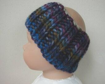 Chunky knit ear warmer blue purple kids head warmer size 2 - 5 yrs warm hand knit in round no seams multicolor thick yarn toddler boy girl