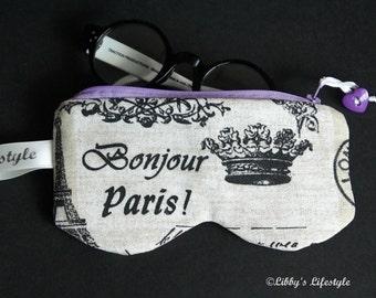 Paris France Glasses case. Handmade.