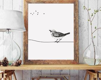 Gallery Wall Prints, Digital Wall Art, Bird Nursery Decor, Sparrow, Wall Art Birds, Downloadable Prints, Bird Wall Art, Gray Wall Art
