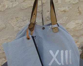 "GRAND Tote ""XIII"" grey/blue"