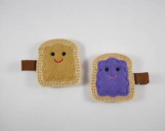 NEW PB & J peanut butter jelly felt embroidered hair clip set