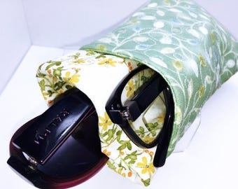 Vines and Flowers Double Glasses Case, Floral Double Eyeglass Pouch, Sunglasses Case, Roomy Eyeglasses Case Thickly Padded