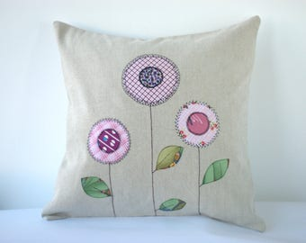 "Flower linen cushion cover, decorative pillow case, applique, free motion embroidery, 16"" (40/40 cm)"