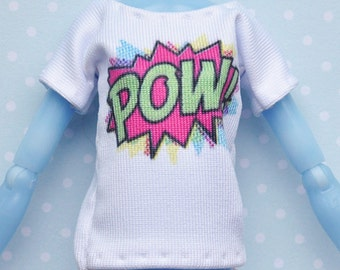 Monster doll clothes Handmade POW T-shirt fits EAH\MH