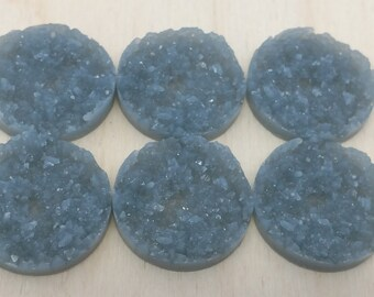 Grey 25mm nugget faux druzy Cabochons 6pcs