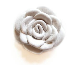 White Leather Rose Leather Brooch Leather Flower Brooch For Woman Gift Idea For Her Leather Jewelry