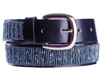 Black leather beaded belt in gunmetal