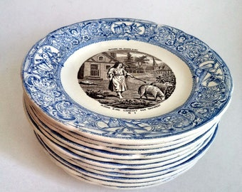 LOT of 12 Gien France Blue White Transferware Jeanne D'Arc Story Plates Rare Set 1930s Vintage Faience Complete French Pottery Dinner Retro