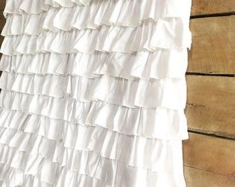 Ruffled White Shower Curtain- farmhouse chic