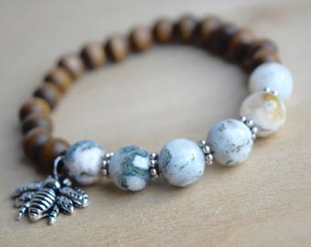 BEE DETERMINED // Fancy Jasper Bracelet / Save the Bees / Yoga Bracelet / Meditation Bracelet / Charm Bracelet / Genuine Gemstone Bracelet