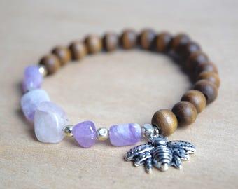 BEE PEACEFUL // Amethyst Bracelet / Save the Bees / Yoga Bracelet / Meditation Bracelet / Charm Bracelet / Genuine Gemstone Bracelet