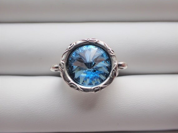 Aquamarine Crystal Adjustable Ring, Antique Silver