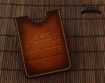 Leather card Holder / Bad Mother Fucker Card Holder /  Card Holder / Pulp Fiction Card Holder / Leather Business Card Case