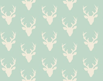 SALE!! 1 Yard- Hello, Bear by Bonnie Christine for Art Gallery Fabrics- Tiny Buck Forest Mint 4440-1