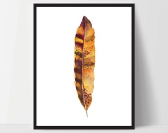 Printable Wall Art, Feather Art, Wall Print, Boho Art, Wall Prints, Feather Prints, Printable Art, Printables, Brown Orange Watercolor
