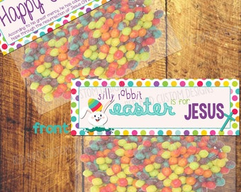 Silly Rabbit Easter is for Jesus Favor Printable (Easter Party, DIY, Instant Download, Bunny, School, Religious, Trix, Rabbit)