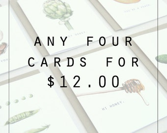 Choose 4 Folded Notecards, Watercolor, Food Illustration,Love card, Thank you card, Hello card, Stationary, Greeting Cards, Notecards