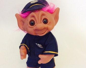 "Thomas Dam Troll Police Officer Cop Trolls 9"" Tall Special Policeman 007 Vintage Doll 1977 Pink Hair in Uniform Vtg Dolls RARE 1970s Uniform"