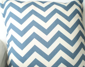 SALE Denim Chevron Pillow Covers, Decorative Throw Pillows, Cushions, Denim Blue Cream Couch Bed Sofa, Throw Pillow, Various Sizes