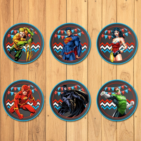 Superhero Cupcake Toppers Chalkboard * Superhero Stickers * Superhero Party Favors * Superhero Cupcake Toppers Cake Top * Justice League