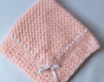 Crochet baby blanket ,granny square christening  baptism baby shower gift satin ribbon