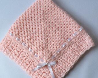 Crochet baby girl blanket ,granny square christening  baptism baby shower gift satin ribbon