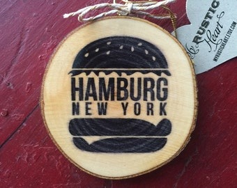 Hamburg NY Wood Slice Ornament