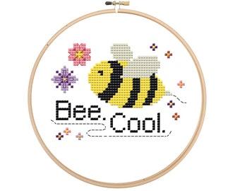 Bee cool modern cross stitch be cool