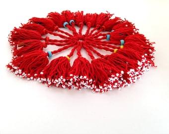 20 Small Turkmen Turkoman Tassels Multi-Color RED in Set Tribal Fusion ATS Belly Dance Jean Jacket Bags Doorway Fringe