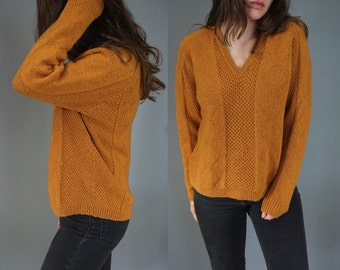 Vtg Mustard Yellow Chunky Knit Sweater V Neck Fisherman Sweater Pullover || Medium