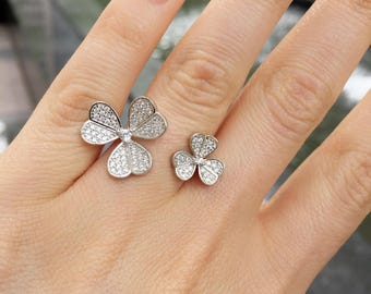 Blooming Floral Sterling Silver Ring, Lucky Clover Pave Statement Ring, Clover Ring, Fashion Ring, Designer Ring, Vintage Ring, Bridal Ring