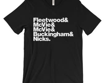 Band Line-Up Unisex T-shirt: Fleetwood Mac (Ships from USA & Europe)