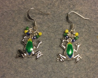 Silver and green, blue and yellow enamel frog charm earrings adorned with tiny dangling green, dark blue and yellow Chinese crystal beads.