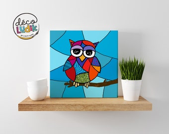 owl canvas print, owl wall art, owl art print, kids room, nursery decor, home decor, print on canvas, owl artwork