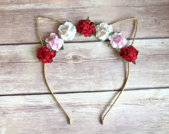 Red White and Pink Floral Cat Ears Unicorn Headband for Child Toddler Baby Girl Adult Birthday Photo Prop