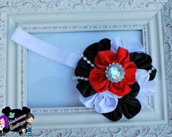Red , White & Black Flower Headband