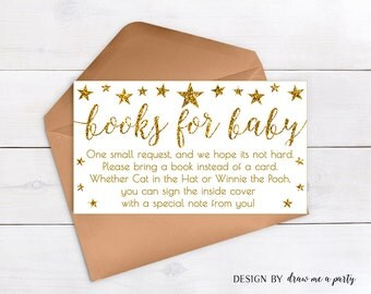 Twinkle Twinkle Little Star Book Request , White and Gold Baby Shower , Bring a Book , Gold Books For Baby , Printable , DIY