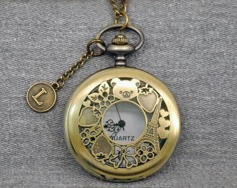 Bear Pocket Watch Necklace Rilakkuma Pocket Watch Eiffel Tower Pocket Watch Strawberry Flower Butterfly -P666