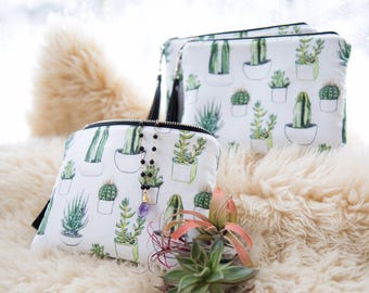 Succulent Essential Oil bag, Essential oil case, Essential oil bag, Rollerball bag, Essential oil carrying case, Available in Tan or White!