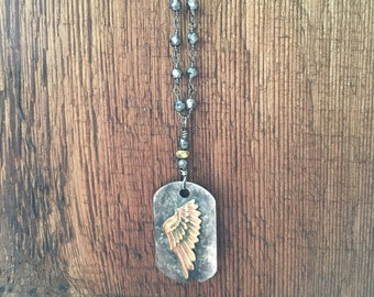 Angel Wing Hematite Hand Wired Necklace, Angel Wing Y Necklace, Dainty Angel Wing Necklace, Unisex Angel Wing Tag, Men's Angel Wing Dog Tag