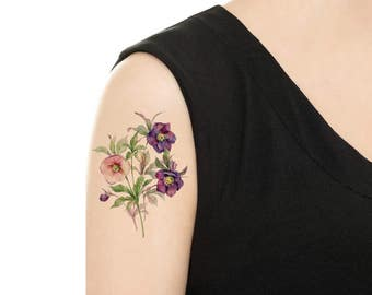 Temporary Tattoo - Peony / Lily / Thunbergia Grandiflora / Pansy / Lilac Vintage Flower Tattoo - Various Patterns  and Sizes / Tattoo Flash