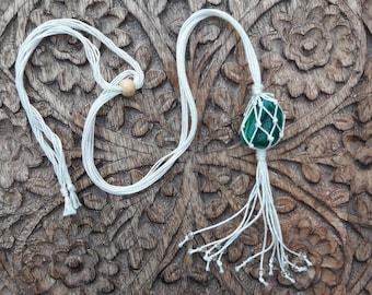 Collar cotton Micro-macrame, pendant Malachite, Lithotherapy, Yoga, Meditation, Zen, minimalist