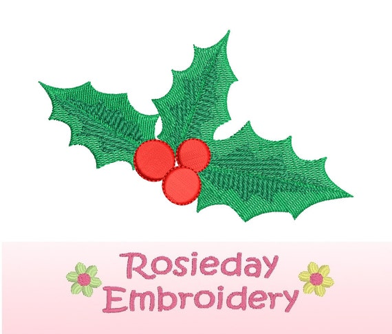 Christmas holly berries machine embroidery design