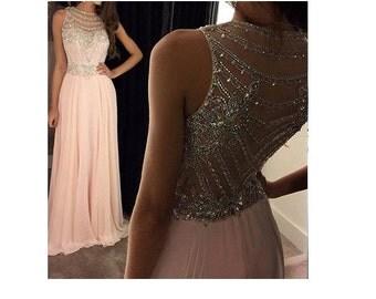 Free Shipping Formal Soft Pink Chiffon Dress